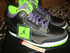 2013 NIKE AIR JORDAN RETRO 3 III JOKER US 10.5 UK 9.5 44.5 BLACK CEMENT GREEN