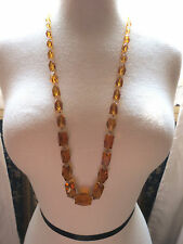 Antique Art Deco Cut Crystal Bead Necklace Amber Faceted Chunky Hand Knotted