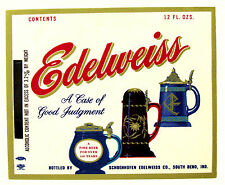 Schoenhofen Edelweiss Co  EDELWEISS beer label IND 12oz ABW Max 3.2%