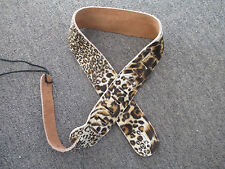 LYNX or LEOPARD PRINT LEATHER GUITAR STRAP - OR FOR BASS TOO!
