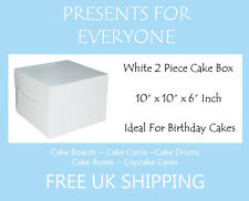 "1 x 10"" x 10"" x 6"" Inch White Cake Box Birthdays Weddings"