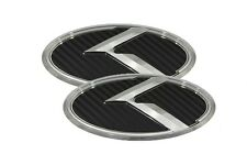 3D K Logo Emblem Carbon 2pc Front Rear (Fit KIA 2014-2017 Forte Sedan K3 Cerato)