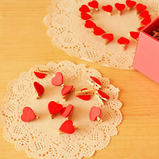20Pcs Mini Wooden Red Heart Pegs Photo Paper Clips Wedding Christmas Decoration