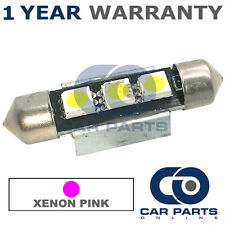 1X PINK CANBUS NUMBER PLATE INTERIOR 3 SUPER BRIGHT SMD LED BULBS 39MM 08PX1