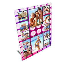 "Personalised 12 Photo Girly Pink 8"" x 10"" Toughened Glass Panel With Peg Stand"