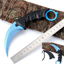 Karambit CS GO Counter Strike Claw Knife with Sheath Tactical Survival Tool Blue