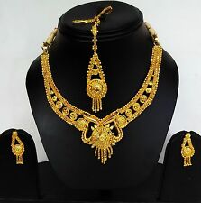 Indian Jewellery Maang Teeka Indian Necklace Set and Earings Gold Plated set.