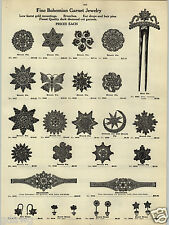 1914 PAPER AD 2 Sided Bohemian Garnet Jewelry Tortoise Hair Pin Brooch Nacklace