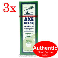 3X Singapore Axe Brand Universal Medicated Oil-56ML for Aches & Pain (New!)