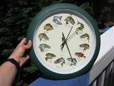 "Splashing Game FISH Wall or Table Clock 13"" Fisherman sounds each HOUR"