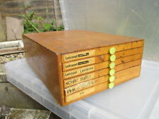 Vintage Chest of Drawer Unit Office Yellow Plastic Knobs Pulls Printers Tray Old