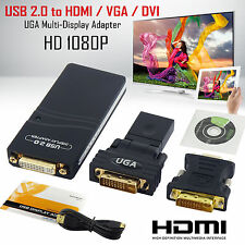 USB 2.0 to HDMI VGA DVI 1080P UGA Multi-Display Adapter Converter Graphics Card
