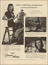 1945`Vintage Christmasad for Cannon Hosiery`Sexy legs Ginny Simms (102515)