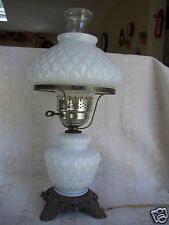 Vintage Hedco 3004 white milk glass gone-withthe-wind style hurricane table lamp