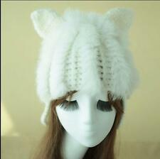 New Women Winter Rabbit Fur Wool Cat Ear Warm Lovely Crochet Braided Knit  Hat