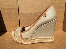 Tory Burch Majorca Peep Toe Wedge Espadrille Canvas Size 38 US 7.5
