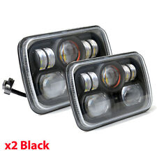 Square Pair 7x6 LED Headlights H4 Light for Jeep Wrangler YJ Cherokee Comanche