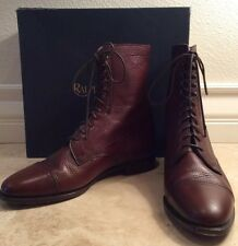 RALPH LAUREN Brown Pebbled Leather Doughboy Boot Lace-Up Ankle 8.5M Italy Worn1x