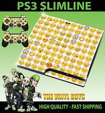 Playstation ps3 slim emoji visages icônes humeurs smileys peau & 2 pad skins