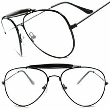 Old School Classic Vintage Retro Black 80's 90's Aviation Clear Lens Eye glasses