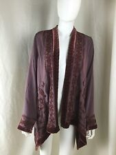 Sundance Catalog Plum Left Bank Cardigan Embroidered Velvet Size Small $248