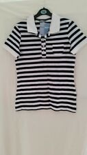 MARKS & SPENCER COLLAR NAVY MIX  POLO  STRIPE T.SHIRT SIZE 10 & 12  RRP £29.5