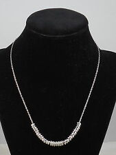 Fossil Brand Silvertone Crystal Rondelle Nugget Crystal Necklace JA5826 040 $48