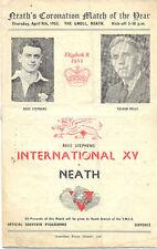Neath V Rees Stephen internacionales de la XV 9 de abril de 1953 Rugby programa en Neath