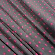 Stoff Meterware Baumwolle Jersey Sterne Stern grau pink  Neu