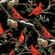 THE CARDINAL RULE BIRDS SNOW HOLLY BERRIES PINE CONES CHRISTMAS FABRIC