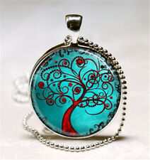 Vintage Tree of Life Cabochon Glass Pendant with Ball Chain Necklace #w35