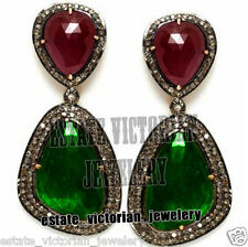 Victorian Vintage 3.15Cts Rose Cut Diamond Emerald Ruby Jewelry Silver Earring