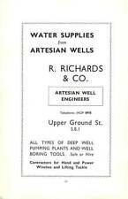 1938 Southwark  Water Supplies Artesian Wells R Richards & Co Letts's Diaries