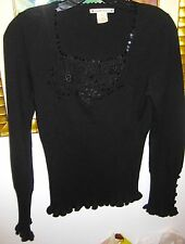 NANETTE LEPORE Sz S  Blk Beaded Sweater w/Lace at Neck     New w/tags
