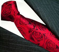 36066 LORENZO CANA - ITALIAN TRADITION 100% SILK RED NECK TIE FLORAL ROSES
