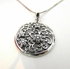 Funky 925 Sterling Silver Vintage Style Flower & Leaf Necklace Without a Chain
