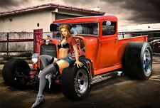 """Hot Rod - Custom Roadsters Classic Muscle Cars Fabric Poster 20""""x13"""" 010"""