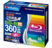 10 Verbatim 3D Blu ray Discs 50GB Bluray DVD BD-R DL Inkjet Printable 6X Speed