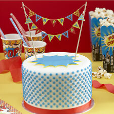 Happy Birthday Cake Bunting - Pop Art Superhero Birthday Party