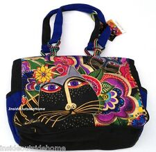 Laurel Burch Carlotta's Black Cats Garden Medium Large Tote Bag Outer Pockets Nw