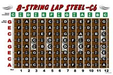 8 String Lap Steel Guitar Chart Poster C6 Tuning Altern Fretboard Notes