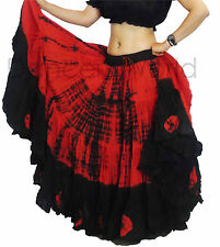 Red/Black 25 Yard Cotton Tribal Skirt 2 Colour ATS Belly Dance Dancing 39""
