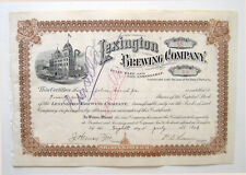 Lexington Brewing Co Beer Stock Certificate 1903