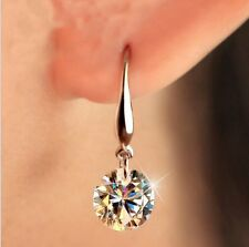 Elegant Zirconia Bridesmaid Stud Drop Crystal Earrings Silver Ear Women Gift
