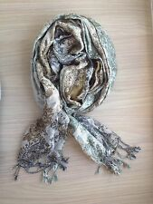 Metallic Green Silver Scarf Wrap Shawl Winter Patterned Floral