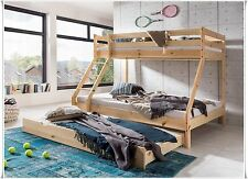 Bunk bed Loft bed Kid's bed solid pine natural with 90 x 200 and 140 x 200cm