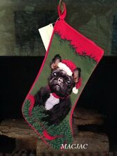 Black Frenchie Dog Needlepoint Christmas Stocking NWT