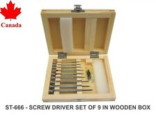 PARUU® 9 pc screw driver set for watch repair in wooden box st666