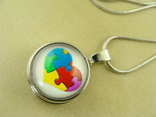 AUTISM HEART II CHANGEABLE SNAP BUTTON CHARM PENDANT W/ SILVER NECKLACE