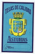 Telas de Calidad Asturias cotton spool label Mexico Mexican coat of arms